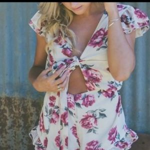 DAUGHTERS OF SIMMONE PALOMA CHIFFON FLORAL ROMPER